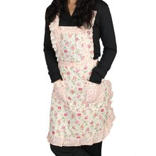Boutique  Stylish Rose Flower Pattern Women's Chefs Cooking Cook Apron Bib with Pockets