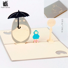 Anime Totoro 3D laser cut pop up paper Holiday handmade Happy Birthday postcards custom Xmas greeting cards Gifts 5024G