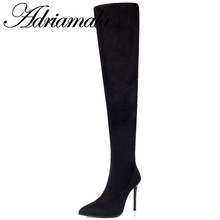 2016 Sexy Boots Over Knee High Heel Slim Stretch Fabric Pointed Toe Stilettos Boots Autumn Fashion Black Thigh High Boot Nysiani