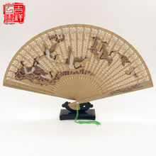2 pieces Chinese Handmade Classical Sandal Wood Fragrant Hollow Folding Bamboo Fan crane patten(China)