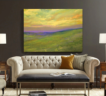 grassland scenery oil painting hand-painted original canvas wall art impressionist pastoral style green and purple prairie