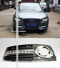 Free shipping,2x Car Special Bright White LED Daytime Driving Direction Lights DRL Kit Fog Grille Cover For 2008-2012 Audi A4