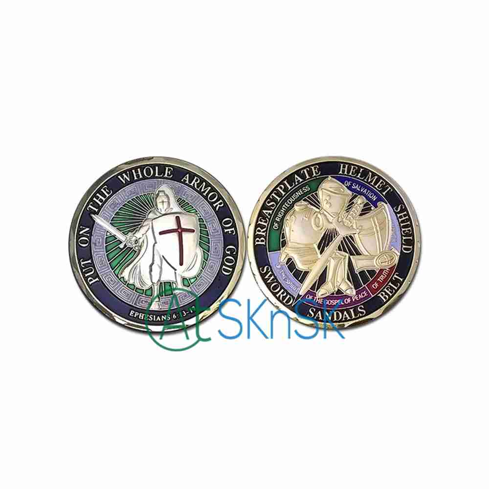 6 Styles Mixed Deisgn 1pc/lot US Knight Templar Put on the Armor of God Challenge Coin(China)