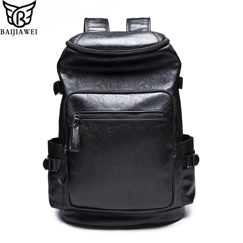 BAIJIAWEI New Men Backpacks High Grade PU Leather Backpack For Men Preppy Style Travel Bags High Quality Laptop Bag Mochila Zip<br>