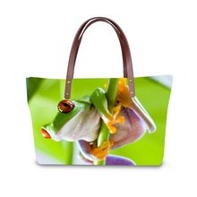 3D frog print ladies handbag women lovely note pattern handbags handbag+messenger bag+purse multifuction bags