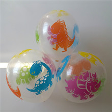 New balloon 30pcs/lot 12inch thicken printing Transparent balloon dinosaur printed balloon intersting kids toys free shipping