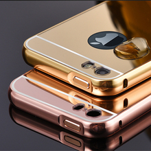 Luxury Plating Metal Aluminum Frame+Mirror PC Acrylic Case For iPhone 4 4s 5 5s SE 6 6S 7 Plus ipod touch 5 6 Cases Phone Cover