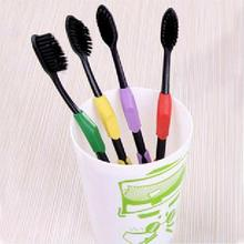 New Arrivals 4pcs High Quality Ultra Soft Bamboo Toothbrushes Charcoal Nano Brush Oral Care Tongue Clean Tool Random Color(China)