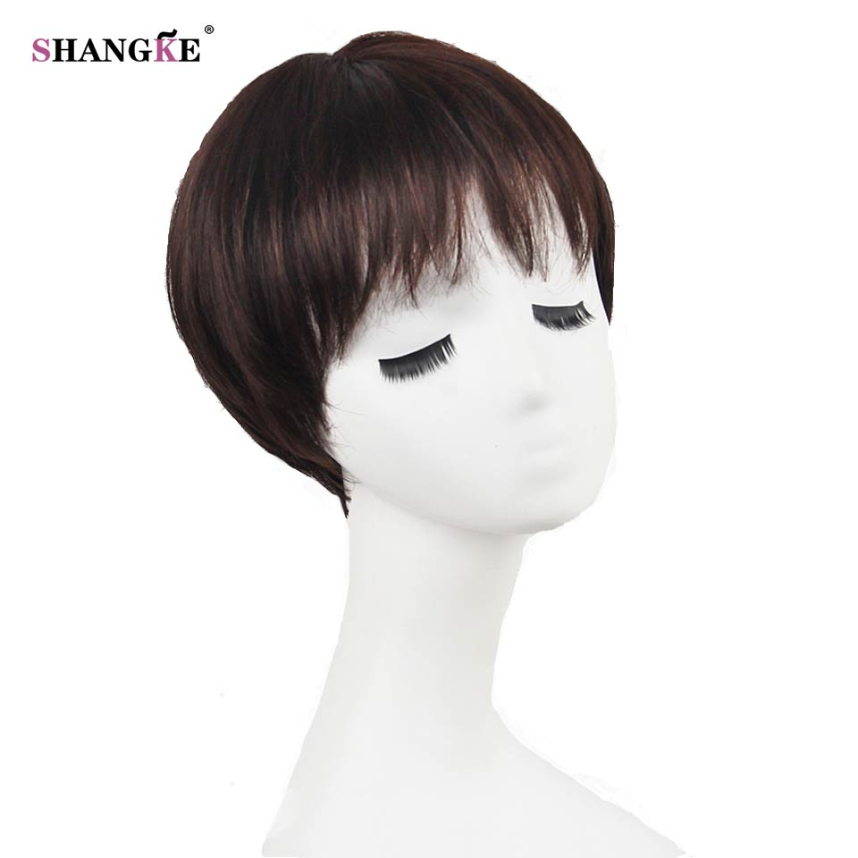 SHANGKE Short Brown Hair Wigs Women Natural Synthetic Wigs For Black Women African Americans Heat Resistant Fake Hair 6 Colors(China (Mainland))