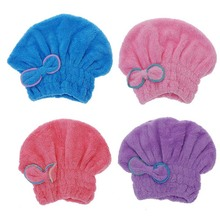High Quality Textile Useful Dry Hair Hat Shower cap Microfiber Hair Turban Quickly Dry Hair Hat Wrapped Towel Bathing Cap(China)