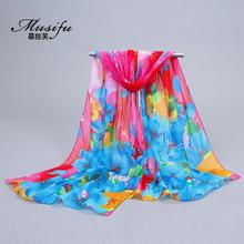 Winter Scarf Scarf Acetate Real New Women Adult Fashion Spring Flowers Roses Print And Scarves Quality Goods Printed Chiffon