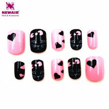 Buy Wholesale 24pcs Cat False Nail Tips Cartoon Short Fake Nails Art Women Children Acrylic Cute Animals Patterns New for $2.20 in AliExpress store