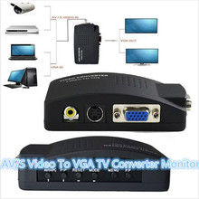 AV/S Video To VGA video converter TV Converter Monitor Adapter Switch Box TV RCA Composite S-Video In AV to VGA PC Mac Lcd Out