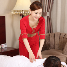 SPA Health Club Work Wear Half Sleeve Foot Massage Worker Uniform Spring/Summer Beauty Salon Overalls Cheap Beautician Uniforms