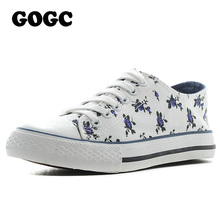 GOGC Flower Women's Shoes 2017 Brand New Floral Canvas Shoes Women for Summer Spring Breathable Cotton Shoes Women Casual Shoes(China)