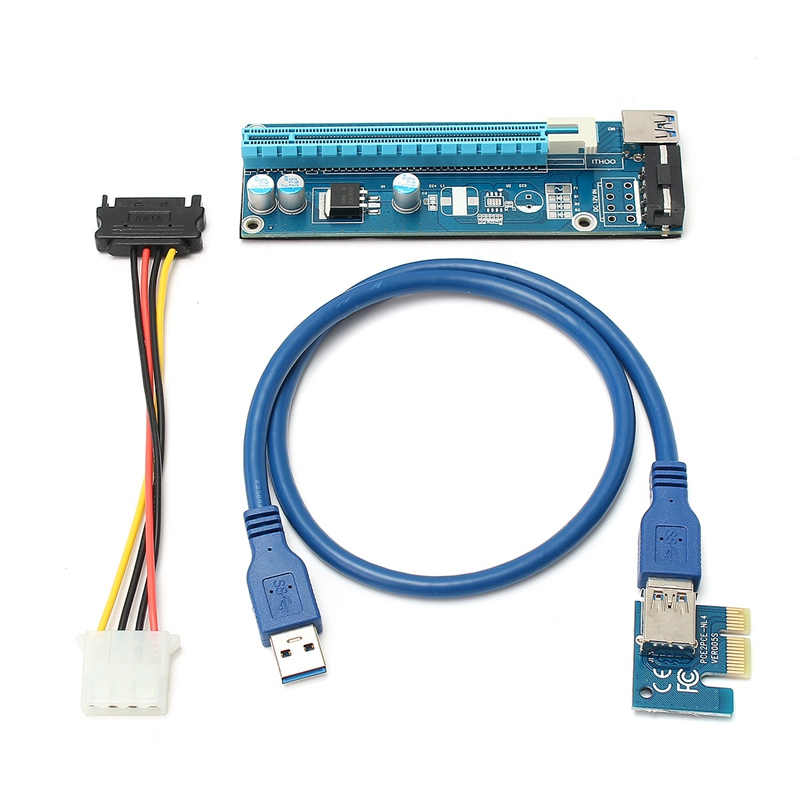 High Quality 5Pcs USB 3.0 PCI-E Express 1x To 16x Extender Riser Card Adapter Power Cable Mining SATA 15pin Male to 4pin Power<br>