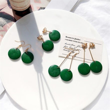 Fashion Simple Wild log Tide Earrings Korean Retro Femininity Green Earrings Pendants Women Without Pierced Ear Clip(China)
