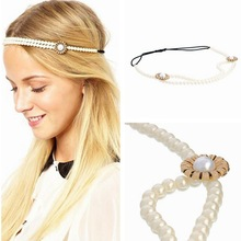 Floral Bridal Headband Hairband Wedding Party ponytail holder elastic hair band ties headwear hair accessories 1pcs FD51(China)