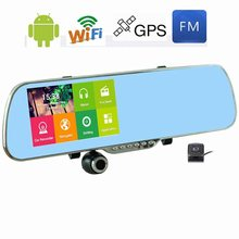 5inch Android 4.4 GPS Nav WIFI Rear View Mirror DVR Camera Dash 170 degree Rearview Mirror HD Automobile Data Recorder Dual Lens