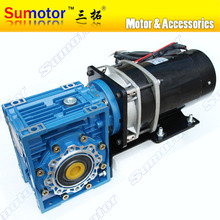GW650 DC 24V 6 to 120 RPM Ultra low rpm Big torque Huge power Double output Electric worm gear motor DC Motor Durable Lifting(China)