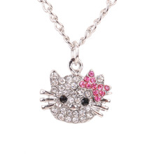 New Arrival  Fashion Crystal Cat Rhinestone Hello Kitty necklace Bowknot KT Jewelry For Girls Necklace free shipping