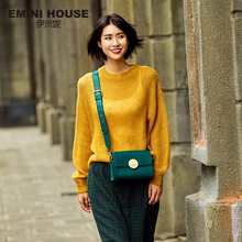 EMINI HOUSE Round Lock Flap Bags Split Leather Women Shoulder Bag Wide Strap Luxury Brand Crossbody Bags For Women Messenger Bag(China)