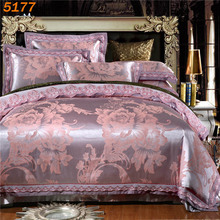 Silver silk bedding sets king size tencel silk bed linen European style quilt cover bed sheets pillow cases jacquard bedset 5177