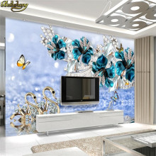 beibehang Custom Photo Wallpaper Mural Sticker Luxury Swan Blue Flower Watermark Jewelery TV Wall Background papel de parede(China)