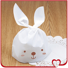 Bakery Gift Kitchen Food Small Baking Bonbon Rabbit White Biscuit Cookie Retail Packaging Package Plastic Gift Favors Bag