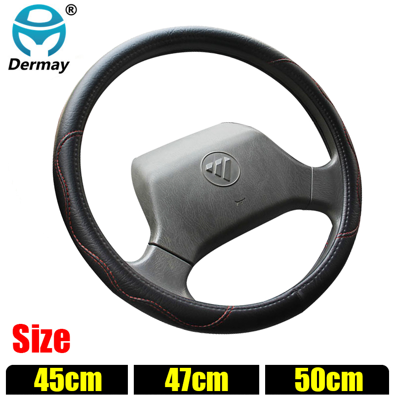 DERMAY Size (45CM 47CM 50CM) Steering Wheel Cover Faux Leather Customized Car Bus Truck Boat Steering Wheel Factory Sale