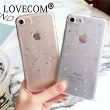 Bling Glitter Transparent Soft TPU Phone Case For iPhone 6 6S Plus Sparkling Stars Shinning Clear Phone Back Case