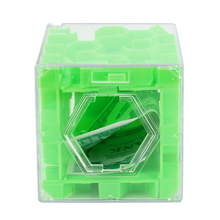 Green 3D Cube Puzzle Maze Toy Hand Game Case Box Fun Brain Game Challenge Fidget Toys For Children Collecting Money Drop Ship(China)