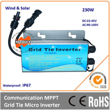 230W 22-45VDC 90-140VAC 50/60Hz Waterproof IP67 Grid tie micro solar wind inverter with communicative function
