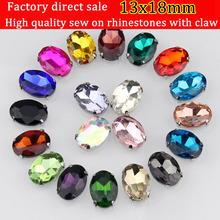 free shipping!13x18mm oval shape crystal glass sew on rhinestone,Silver bottom loose rhinestones, DIY 20pcs