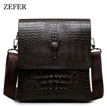 2017 NEW Vertical high quality leather men bag business casual alligator shoulder bag Messenger bag crocodile grain bag(China)
