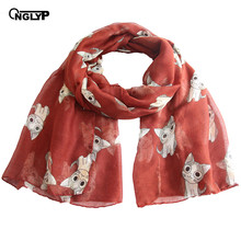 ONGLYP Animals Scarf Lightweight Women Spring Autumn Cute Cat Print Long Scarves Shawl Beach Wrap Poncho Fashion Scarfs(China)