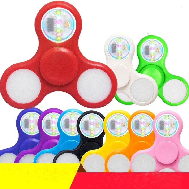 Light Fidget Spinner Led Stress Hand Spinners Glow In The Dark Figet Spiner Cube EDC Anti-stress Finger Spinner