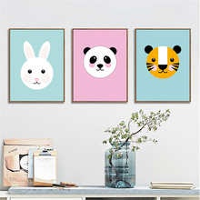 HAOCHU Kawaii Animal Head Print Round Face Rabbit Monkey Panda Canvas Painting Wall Picture for Kids Room Kindergarten Decor
