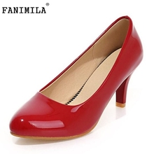 Women Nude Color Patent Leather Pumps Red Pointy Toe Basic Work Stiletto High Heel Pump Stilettos Party Shoes Size 32-45