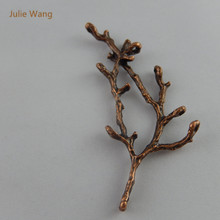 Julie Wang 10pcs Red Copper Mini Charms  Branches Shape  Pendant Handmade Hanging Crafts Accessory Suspension AU35351