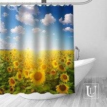 High Quality Custom Sunflower Shower Curtain Polyester Fabric Bathroom Hooks Mildew Resistant Decor