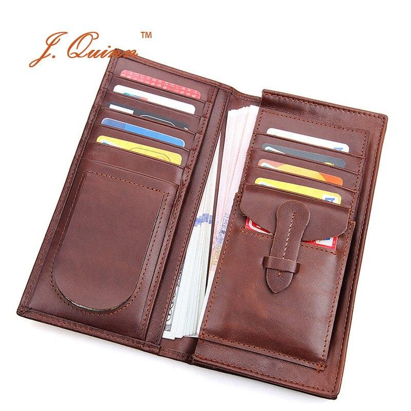 J.Quinn New Vintage Genuine Crazy Horse Leather Wallet Men Coin Zipper Wallets Bifold Purses Thin Long Card Money Clutch Purse<br><br>Aliexpress