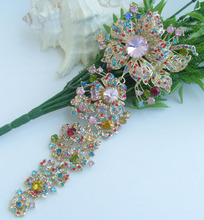 "HelenaJewelry 7.28"" Gold-tone Multicolor Rhinestone Crystal Orchid Flower Brooch Pin EE04704C5"