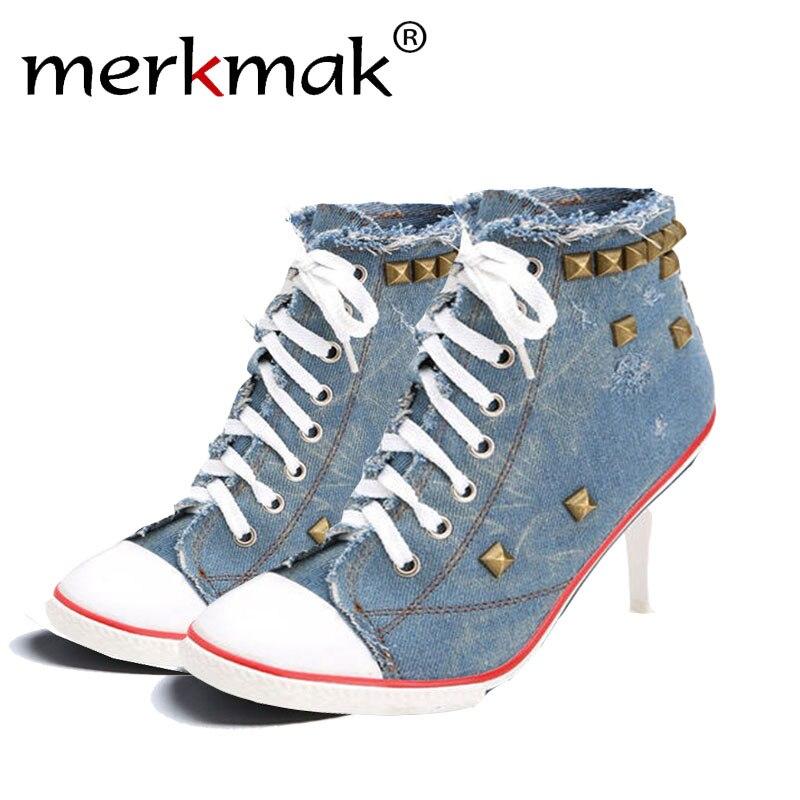 Merkmak Vintage High Heels Canvas Rivet Women Pump Ladies 2017 Casual Lace-Up Girls Denim Sexy Cool Punk Women Shoes Drop Ship<br>
