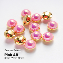 6mm/8mm  100pcs Sew on Pearl Pink AB Gold Plating pearl Color Rhinestone Beads  for Garment Jewelry Sew on Pearls With Holes