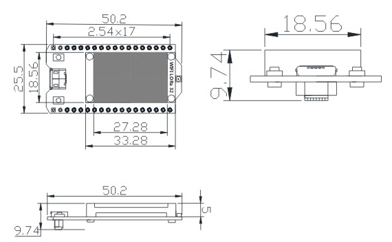 5pcs 868MHz/915MHz LoRa ESP32 Blue oled Wifi SX1276 Module IOT Development Board with Antenna For Arduino Electronic diy kit
