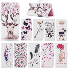 Flip Stand Card Slot PU Leather Wallet Case for Huawei Ascend P9 Lite P9 Flowers feather pattern PhoneCase for Huawei G9 P9 Lite