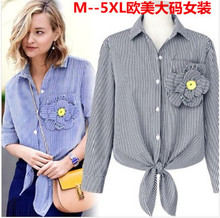 European new age season in Europe and the wind big yards couture show thin stripes hem knot stereo corsage shirt