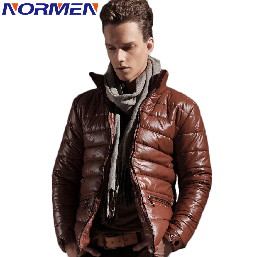 Normen Mens New Design Synthetic Leather Parkas Solid Fashion Cotton Padded Men Slim Fit Streetwear Outwear Winter Jacket MenОдежда и ак�е��уары<br><br><br>Aliexpress