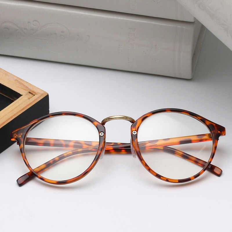 2a0d22add7 Cute Style Vintage Glasses Women Men Leopard Glasses Frame Round Eyeglasses  Frame Optical Frame Glasses Oculos
